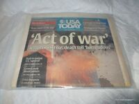 NEW Vacuum Sealed 2001 USA Today  9 11 01 Newspaper NY 12 September Act Of War