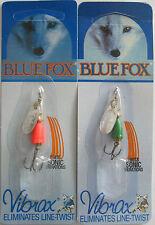 2- BLUE FOX Classic Vibrax Spinner - 7/64 oz. - Silver/Red & Silver Green