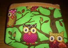 Neon green owl small coin purse