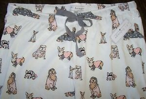 NWT PJ Salvage Ivory/Gray/Pink DOGS IN JAMMIES Jersey Knit Pajama/Lounge Pants L