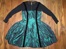 Women's Oscar De La Renta metallic green long slv silk Tafetta drs velvet trim-M