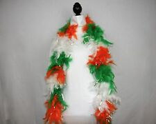IRISH w/SILVER TINSEL Feather Boa - 6 FEET, 60 GRAMS - Parades, Parties, Costume