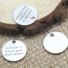 10pcs a dream is a wish your heart makes charm silver tone message pendant 20mm