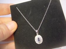 "16-18 "" SOLID SILVER CHAIN & TANZANITE & SPARKLY WHITE TOPAZ PENDENT-BEAUTIFUL"