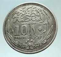 1917 EGYPT Sultan Hussein Kamil Genuine Silver 10 Piastres Egyptian Coin i75956
