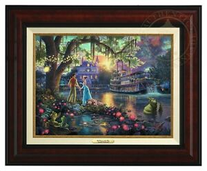Thomas Kinkade Princes and the Frog 12 x 16 Canvas Classic (Burl Frame)