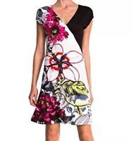 Desigual Women's Size S Floral Embellished A-Line Knit Dress Art To Wear Boho