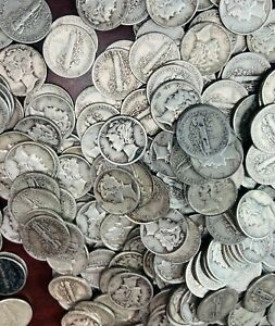 (50) fifty  90% Silver Mercury Dimes $5 Face ~ Random Dates 1916-1945