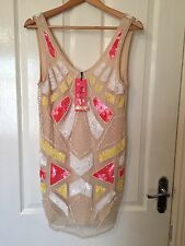 LADIES 'PINK SODA' BRAND NEW CREAM/MULTI BEADED DRESS. SIZE 6. LABEL ATTACHED.