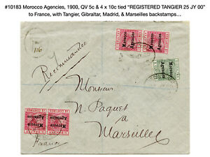 10183: Morocco Agencies, 1900, QV Registered Cover to France