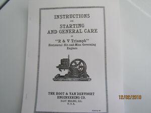 Pre 1916 Root & VanDerVoort  Triumph Line Hit & Miss Engine Instruction Manual