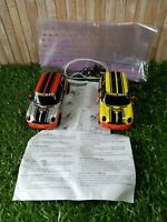 2 x Hornby Scalextric 1:32 Mini Cooper Power Maxed No.9&10 Slot Cars