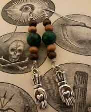 "Odd Fellows Folk Art ""Heart in Hand"" Earrings Malachite"