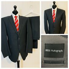 Marks & Spencer Autograph Mens Suit 44R 38W 33L Grey 100% Wool Formal OR340