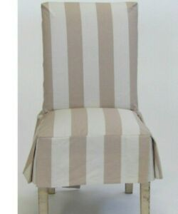 Striped Taupe Short Dining Chair Slipcover
