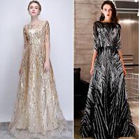 NEW Abendkleider Cocktailkleid Brautjungfern Party Lang Pailletten Kleider YSG61