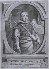GRAVURE XVIIe BALTHAZAR CHARLES D'AUTRICHE asturias retrato grabado espana
