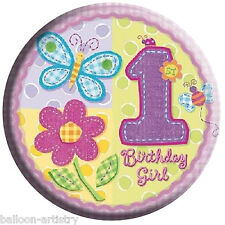 6.1cm Pink Girl's Hugs & Stitches 1st Birthday Girl Party Button Badge