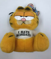 "Vintage 1978/1981 GARFIELD I Hate Mondays Plush w/ Tag - 8"" Tall"