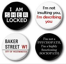SHERLOCK COLLECTION  - 4x 1 inch / 25mm Button Badge - Holmes Watson Cumberbatch