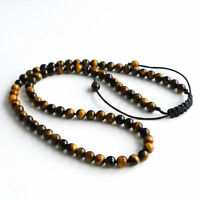 Fashion Mens Lava Stone Tigers Eye Yoga Beaded Necklace Gemstone Beads For Men
