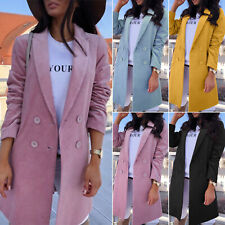 Women Lapel Double Breasted Long Blazer Overcoat Jacket Tops Outwear Trench Coat
