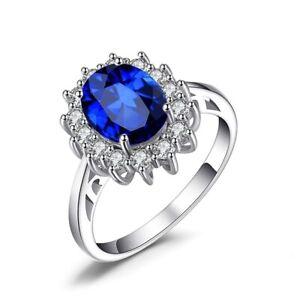 Fashion 925 Blue Colour Sun Flower Shape Women Wedding Engagement Rings Jewelry