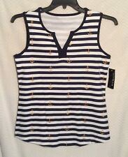 Women's Navy/White Striped KIM ROGERS SHIRT Size Small Sleeveless Anchors ~ NWT