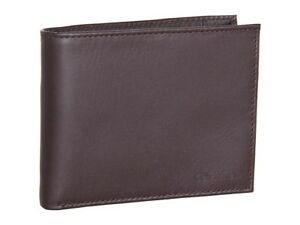 $74 Calvin Klein Mens Brown Leather Bifold Coin Pocket 8cc Id Credit Card Wallet