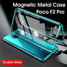 Luxury Magnetic Metal Bumper Back+Front Glass Case Cover For Xiaomi Poco F2 Pro