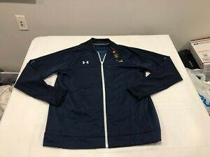 NWT $70.00 Under Armour Mens Cold Gear Knit Warm Up Jacket Navy Blue Size XL