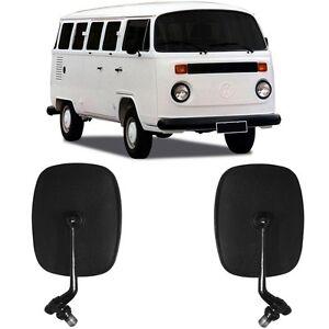 VW Bus 1968-1979 Black Side Mirror Set Pair 2pcs Transporter Type 2 Van Kombi T2