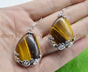 Tibet 925 Silver Drop GENUINE TIGER'S EYE Flowers Gemstone Hook Earrings Jewelry