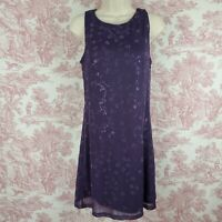 Byer Too Sleeveless Dress Purple Floral Glittery Size L Jrs Sheer Overlay