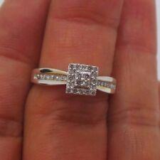 tcw Sz 7 G109262-3 2.71 grm Stunning Silver Diamond Cluster Engagement Ring .20