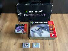 Nintendo 64 N64 TWIN CONTROLLER PACK Clear Purple PAL - RARITÄT inkl 2 Spiele