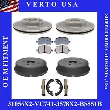 Complete Front & Rear  Rotors , Drums, Ceramic Pads & Brake Shoes