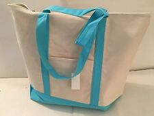 LARGE zippered CANVAS beach cotton natural tote bag pocket LIGHT BLUE TRIM NEW