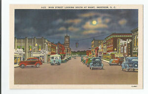 Anderson, SC Main Street Looking South at Night postcard A-23 Ashville PC E-4867