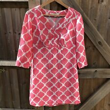 Boden Pink & White Casual Linen Tunic Dress 10 R VGC Summer Holiday