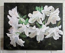Signed Oil Painting of White Azaleas by Floyd E. Hutchinson