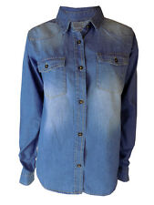 Ladies Womans Denim jean Shirt Top Long Sleeve Casual 8 10 12 14 16 NEW LOOK
