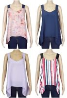 New George Ladies Sleeveless Chiffon Cross Back Summer Top Size 10 - 24 Multi