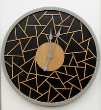 """HERMLE  NEW 16""""    WALL CLOCK  WITH WOODEN GEOMETRIC FILIGREE DESIGN HM-31011"""