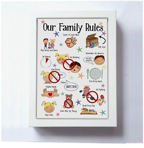 Kids Family Rules print, Toddler daily visual aid, Autism ADD, Playroom UNFRAMED