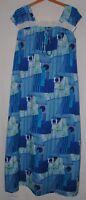 Vintage 60s Liberty House Hawaii Maxi Dress Mod Gown Blue Caftan 12 Hawaiian