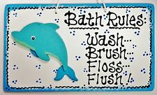 White DOLPHIN Bath Rules SIGN Bathroom TROPICAL Beach Sea Wall Decor Plaque