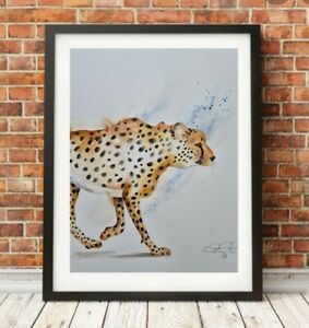 Large new Elle Smith original signed watercolour art painting of a Cheetah
