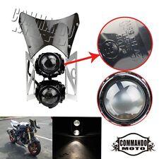 Universal Streetfighter Headlight Twin Stacked Projector Lights W/ Windscreen