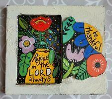 Folk Art ORIGINAL Bible Scripture Rejoice LORD Thankful Flower Vase Pot Leaf